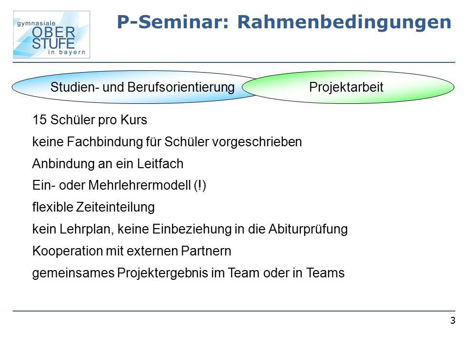 P-Seminar: Rahmenbedingungen