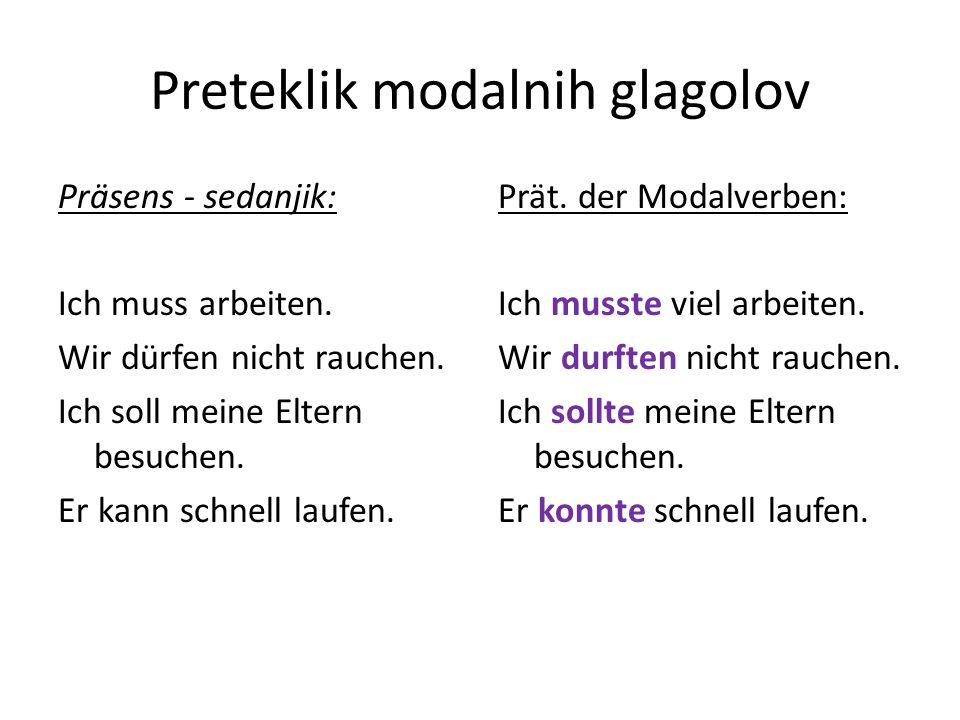 Preteklik modalnih glagolov