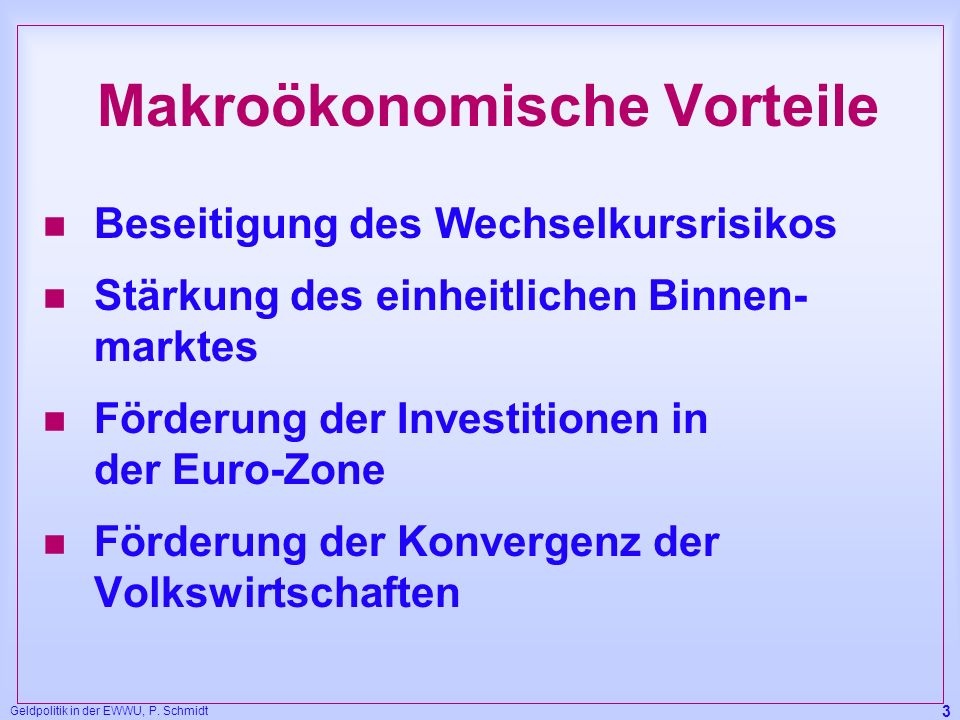 Makroökonomische Vorteile