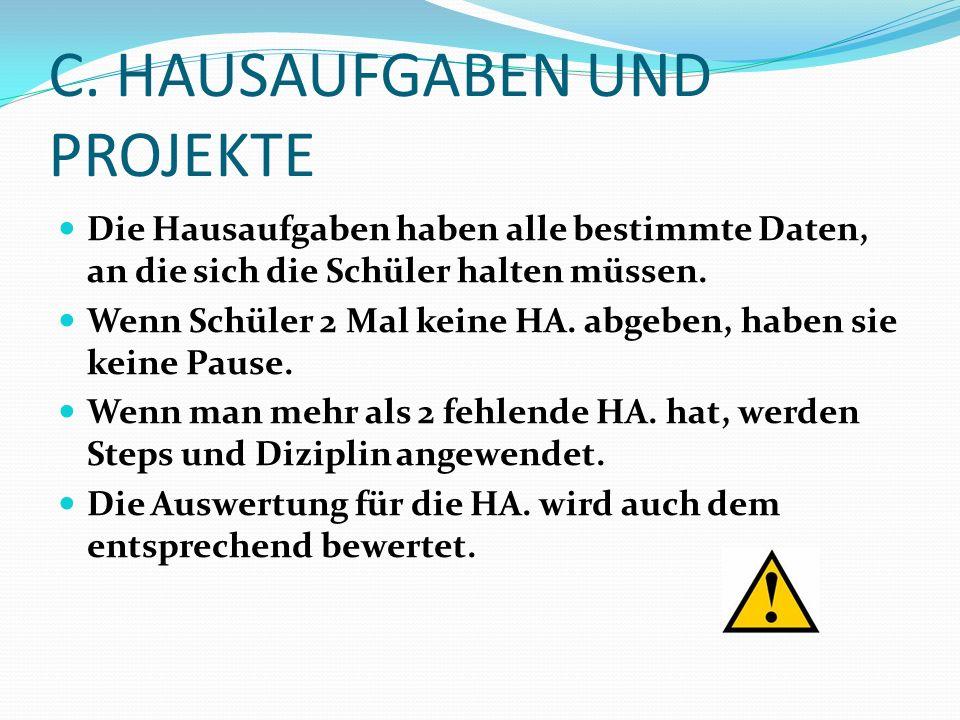 C. HAUSAUFGABEN UND PROJEKTE