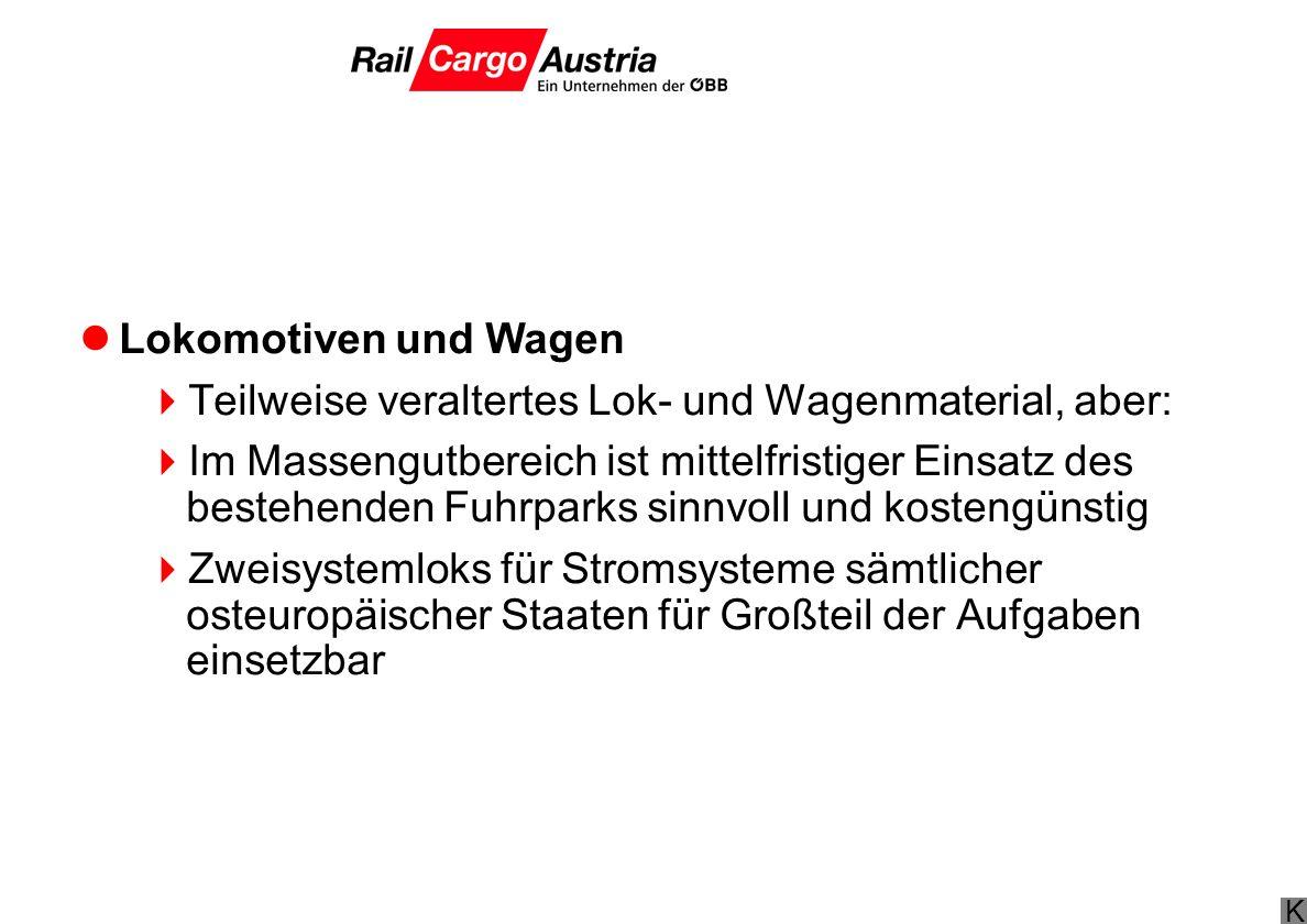 Lokomotiven und Wagen Teilweise veraltertes Lok- und Wagenmaterial, aber: