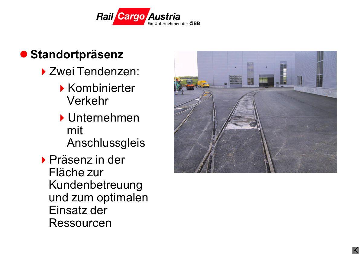 Standortpräsenz Zwei Tendenzen: Kombinierter Verkehr. Unternehmen mit Anschlussgleis.