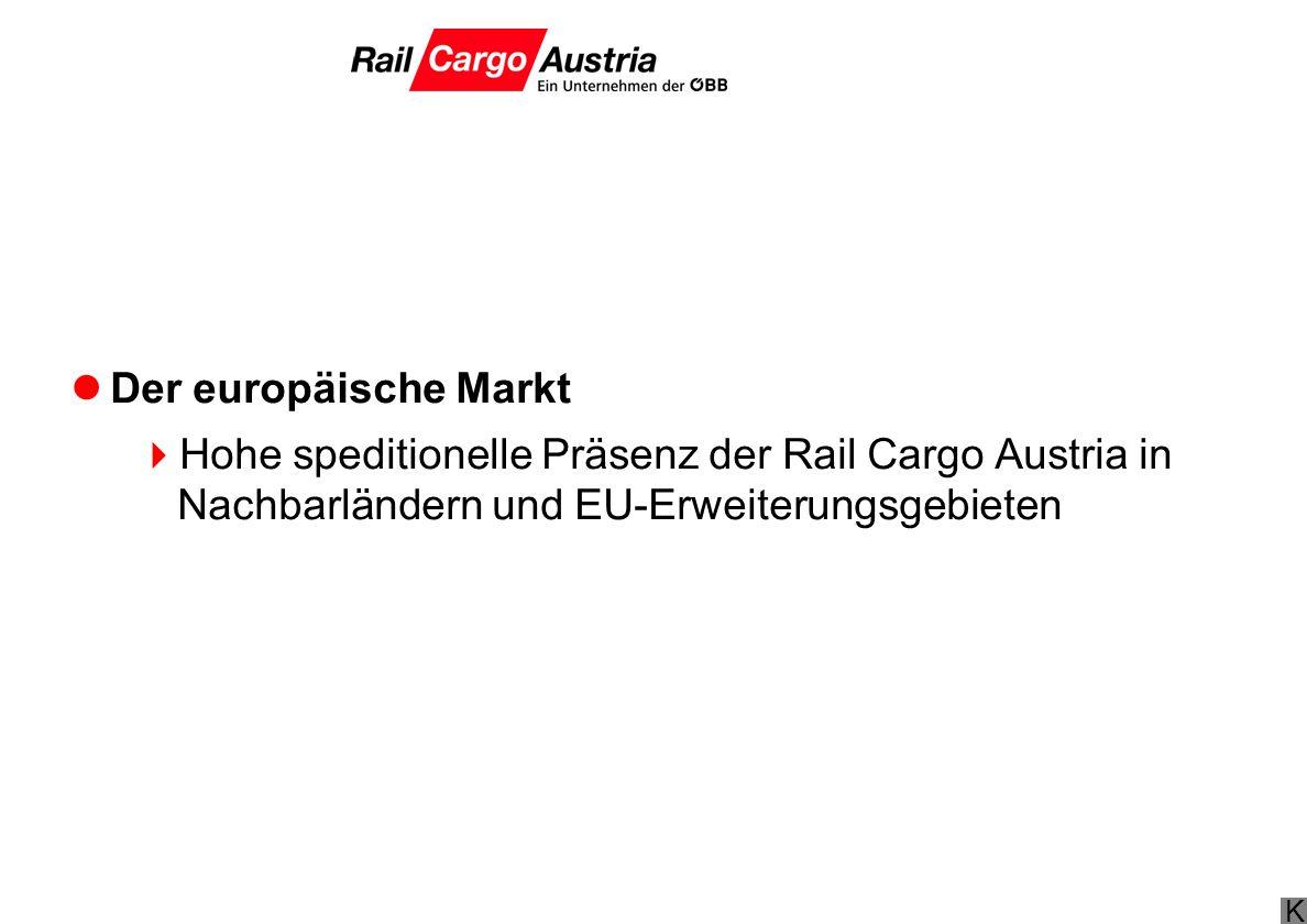 Der europäische Markt Hohe speditionelle Präsenz der Rail Cargo Austria in Nachbarländern und EU-Erweiterungsgebieten.