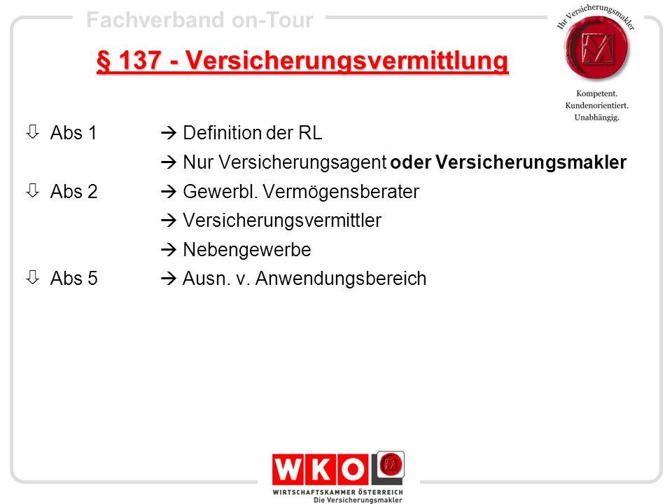 § 137 - Versicherungsvermittlung
