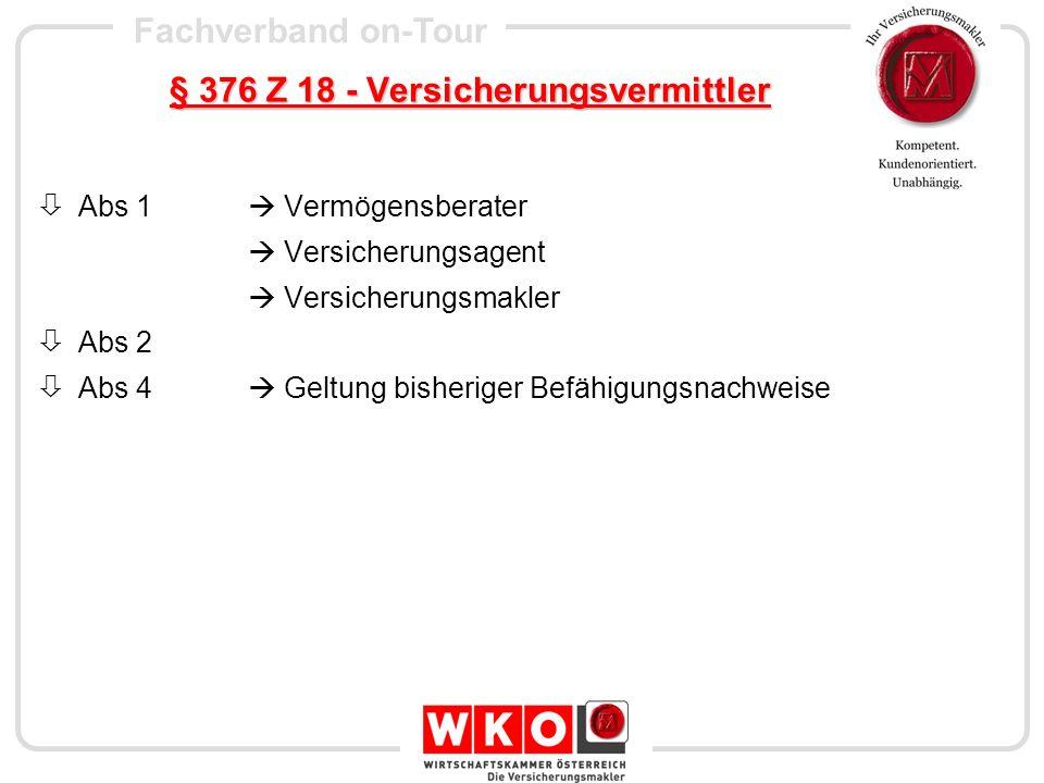 § 376 Z 18 - Versicherungsvermittler