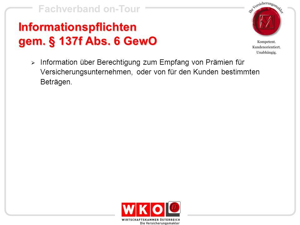 Informationspflichten gem. § 137f Abs. 6 GewO