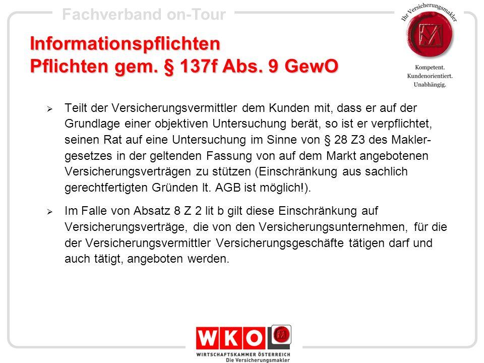 Informationspflichten Pflichten gem. § 137f Abs. 9 GewO