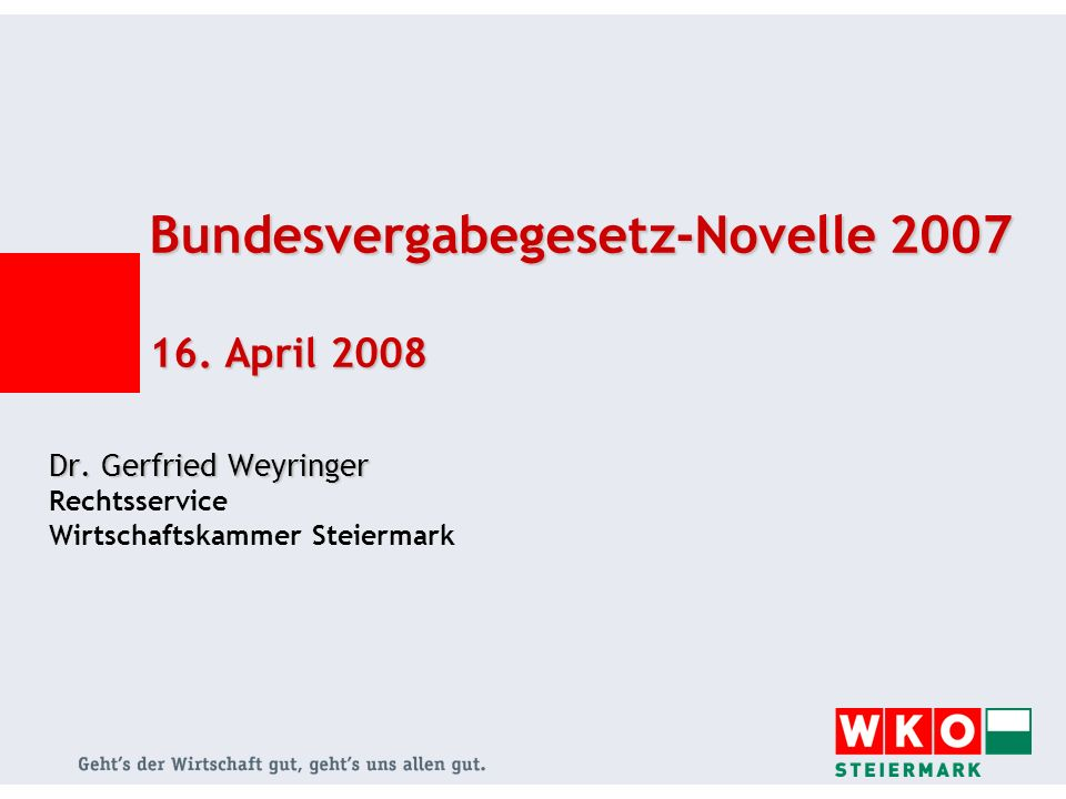 Bundesvergabegesetz-Novelle 2007 16. April 2008