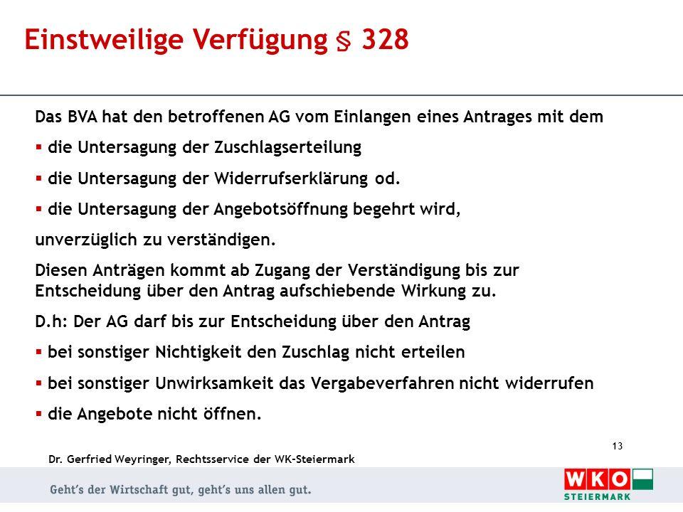 Einstweilige Verfügung § 328