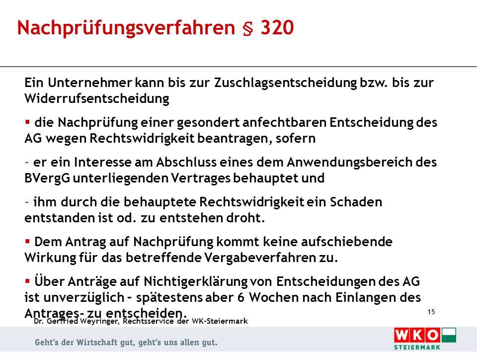 Nachprüfungsverfahren § 320
