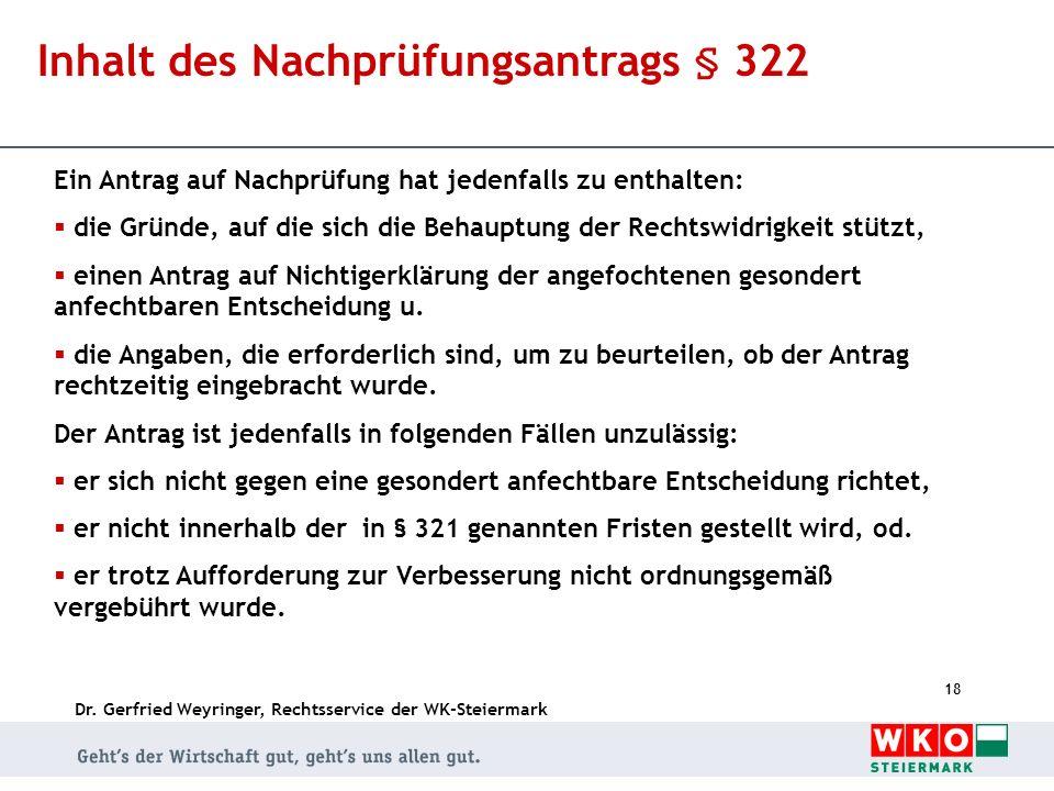 Inhalt des Nachprüfungsantrags § 322