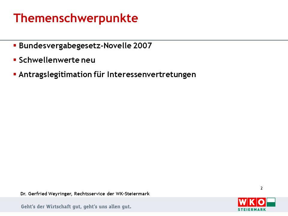 Themenschwerpunkte Bundesvergabegesetz-Novelle 2007 Schwellenwerte neu