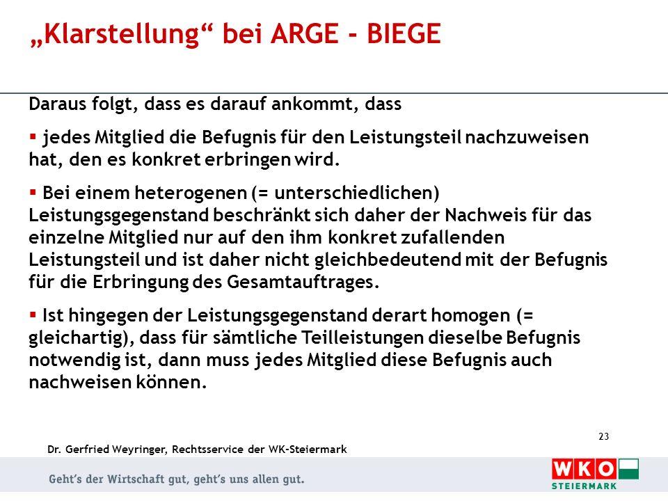 """""""Klarstellung bei ARGE - BIEGE"""