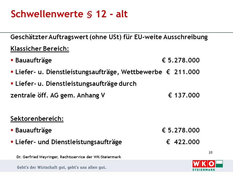 Schwellenwerte § 12 - alt Geschätzter Auftragswert (ohne USt) für EU-weite Ausschreibung. Klassicher Bereich: