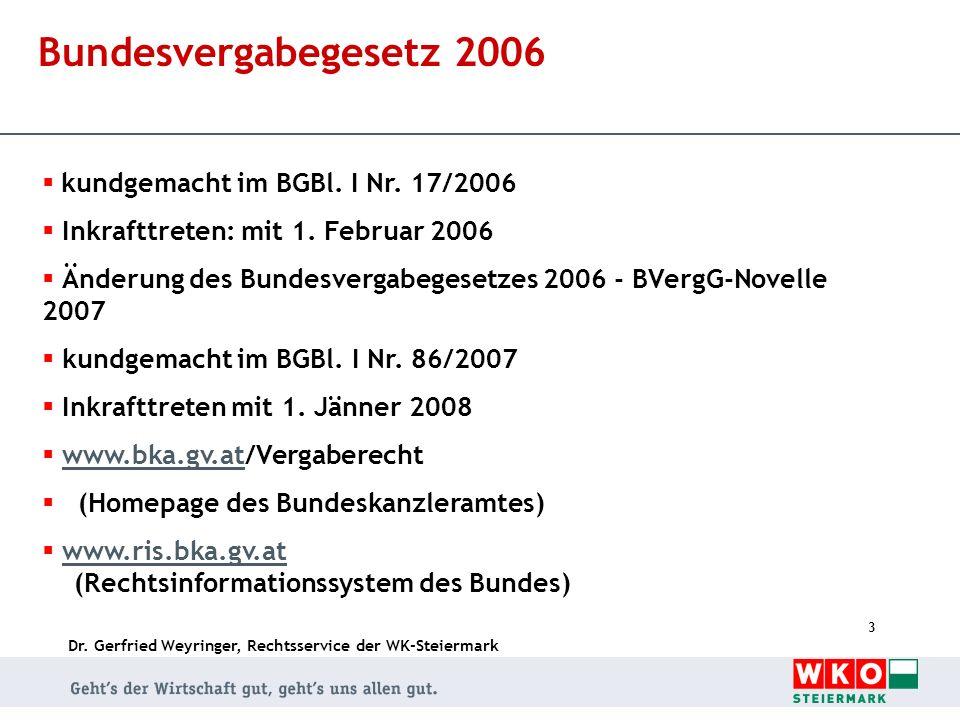 Bundesvergabegesetz 2006 kundgemacht im BGBl. I Nr. 17/2006
