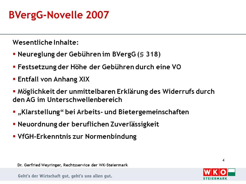 BVergG-Novelle 2007 Wesentliche Inhalte: