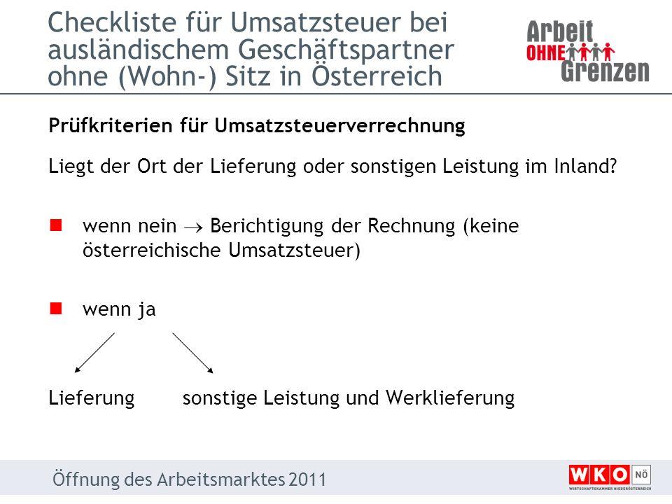 Checkliste für Umsatzsteuer bei ausländischem Geschäftspartner ohne (Wohn-) Sitz in Österreich