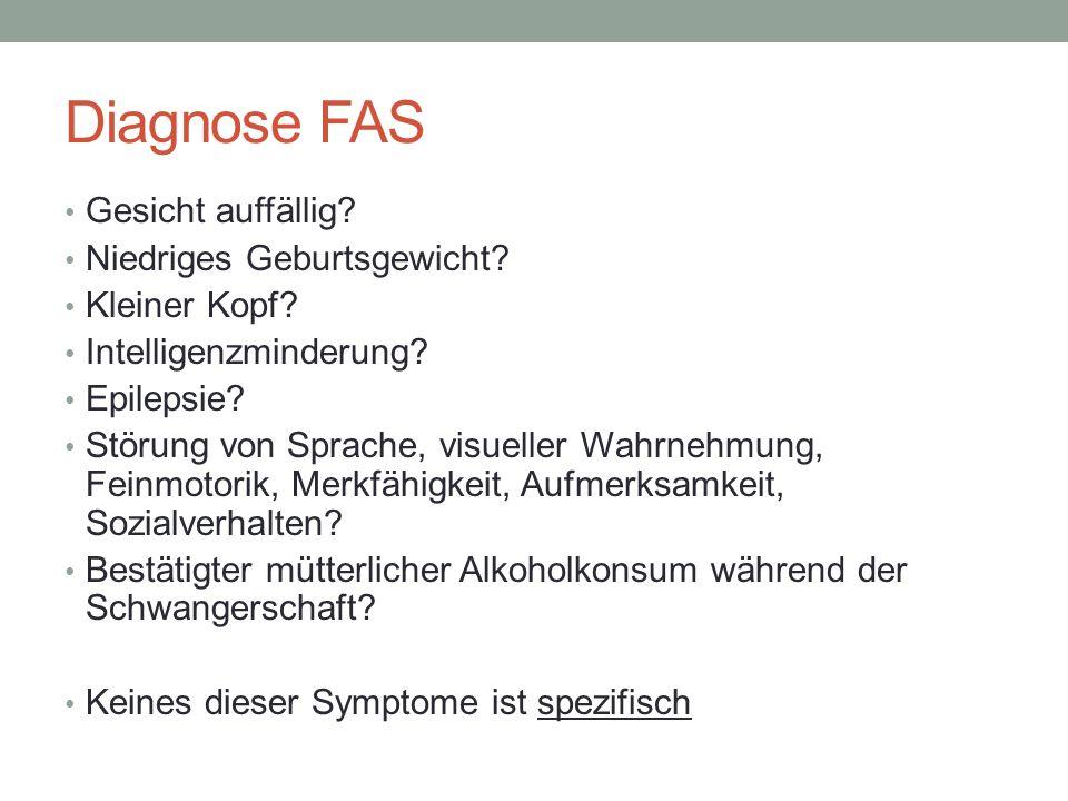Diagnose FAS Gesicht auffällig Niedriges Geburtsgewicht