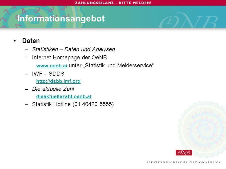 Informationsangebot Daten Statistiken – Daten und Analysen