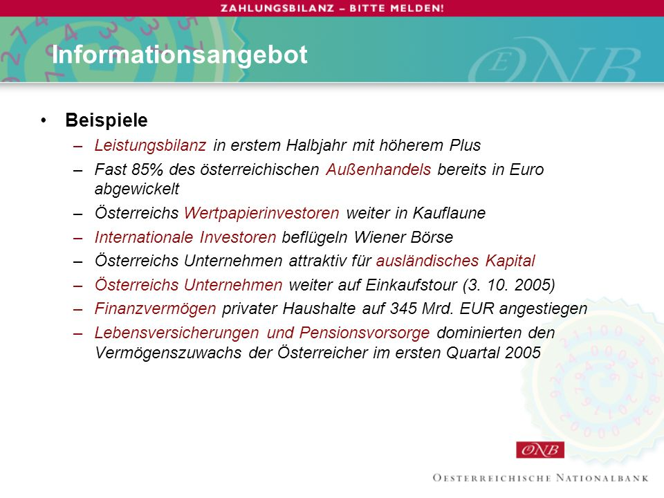 Informationsangebot Beispiele