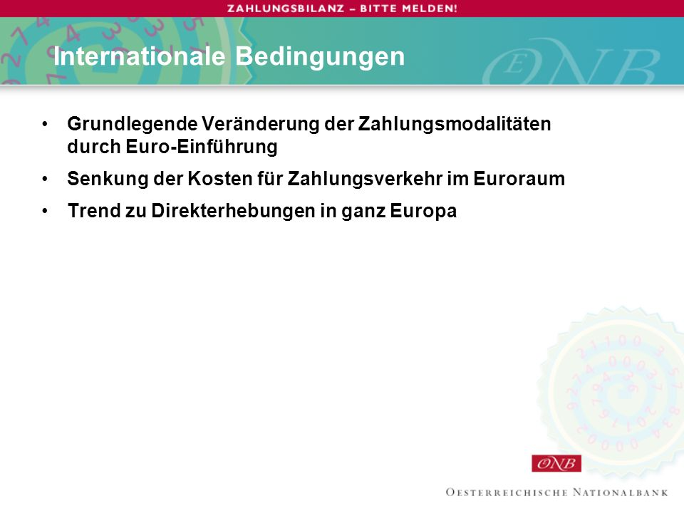 Internationale Bedingungen