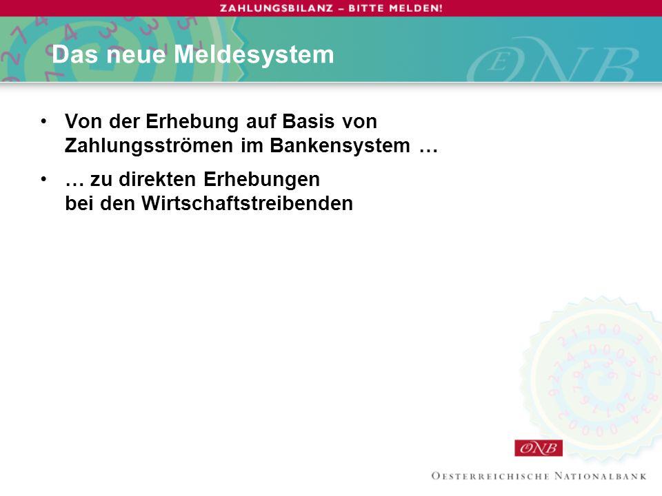 Das neue Meldesystem Von der Erhebung auf Basis von Zahlungsströmen im Bankensystem … … zu direkten Erhebungen bei den Wirtschaftstreibenden.