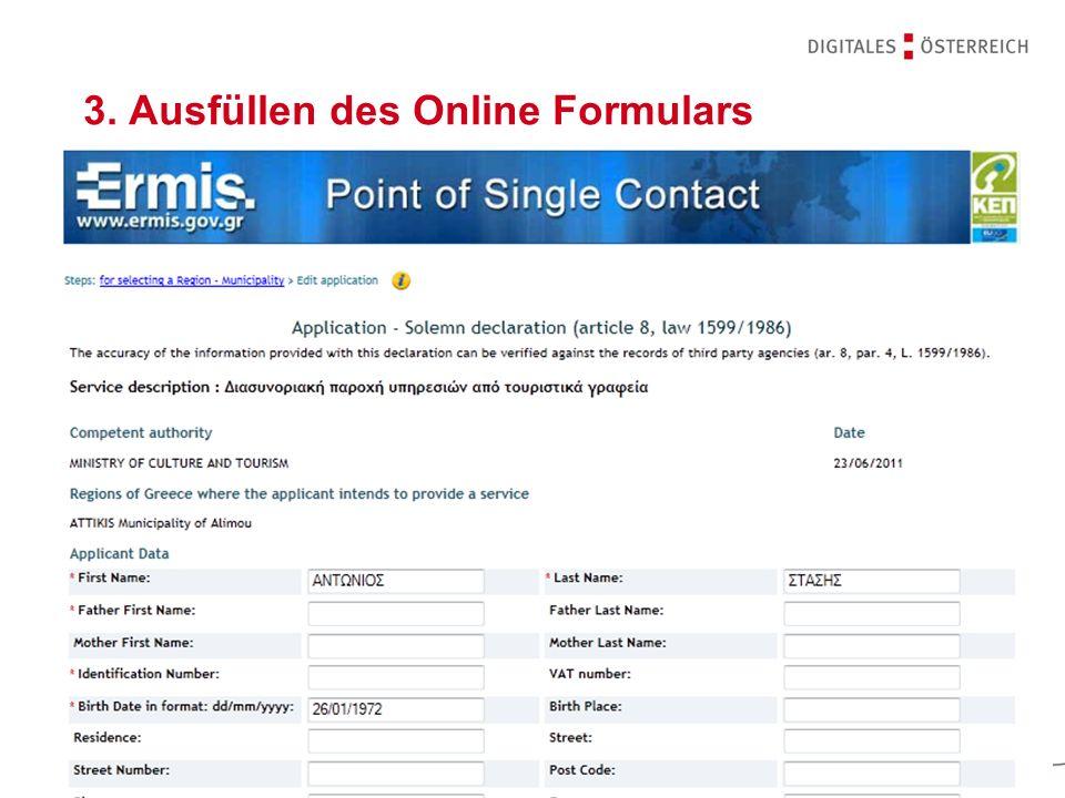 3. Ausfüllen des Online Formulars
