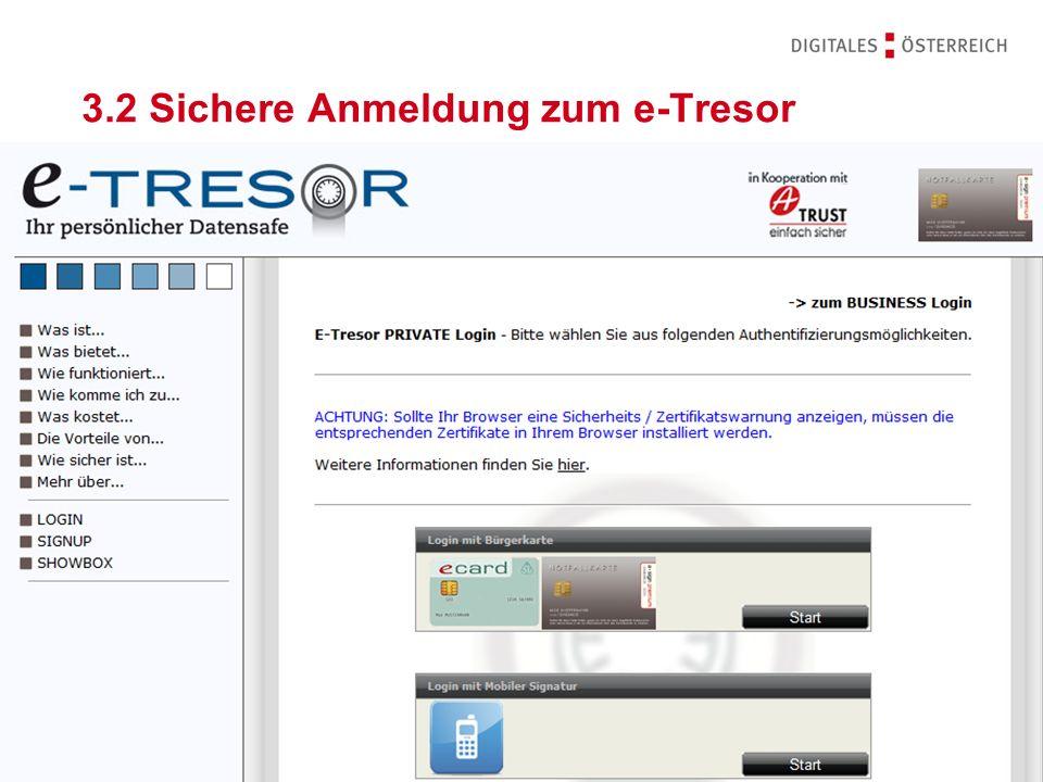 3.2 Sichere Anmeldung zum e-Tresor