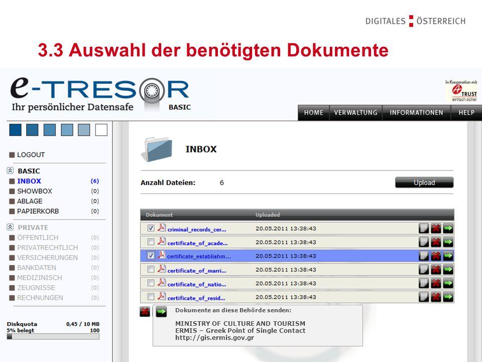 3.3 Auswahl der benötigten Dokumente
