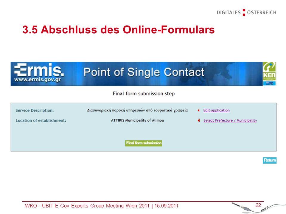 3.5 Abschluss des Online-Formulars