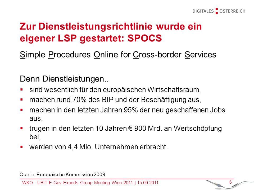 Zur Dienstleistungsrichtlinie wurde ein eigener LSP gestartet: SPOCS
