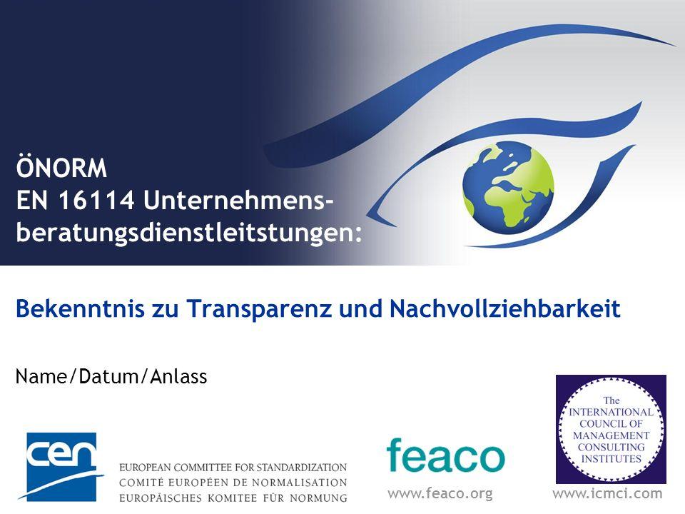 ÖNORM EN 16114 Unternehmens- beratungsdienstleitstungen:
