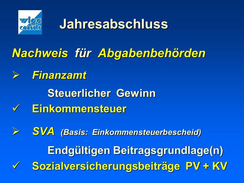 Jahresabschluss Nachweis für Abgabenbehörden Finanzamt