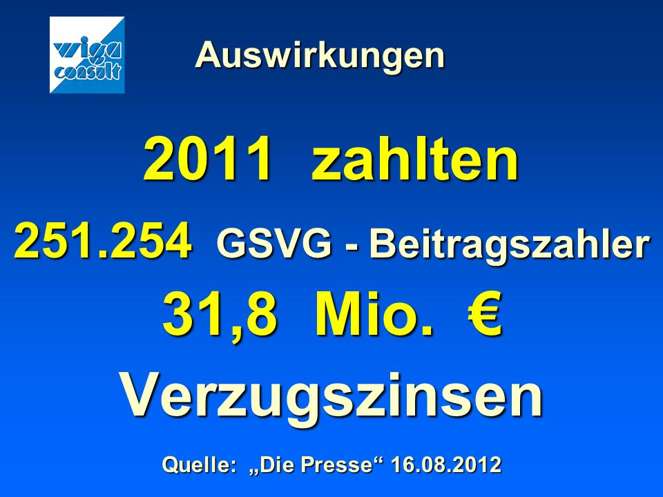 2011 zahlten 31,8 Mio. € Verzugszinsen