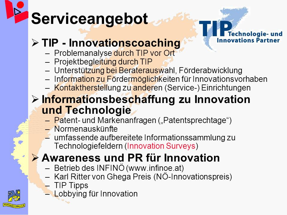 Serviceangebot TIP - Innovationscoaching
