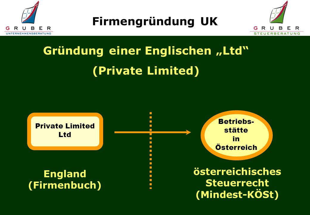 """Gründung einer Englischen """"Ltd"""