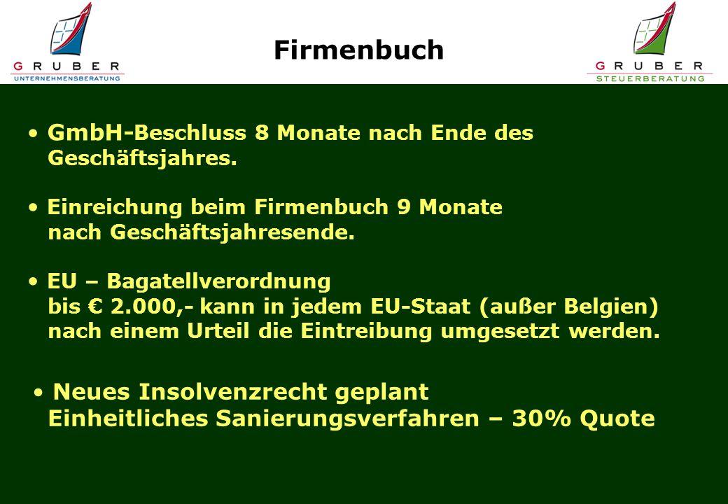Firmenbuch GmbH-Beschluss 8 Monate nach Ende des Geschäftsjahres.