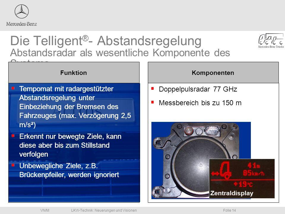 Die Telligent®- Abstandsregelung Abstandsradar als wesentliche Komponente des Systems.