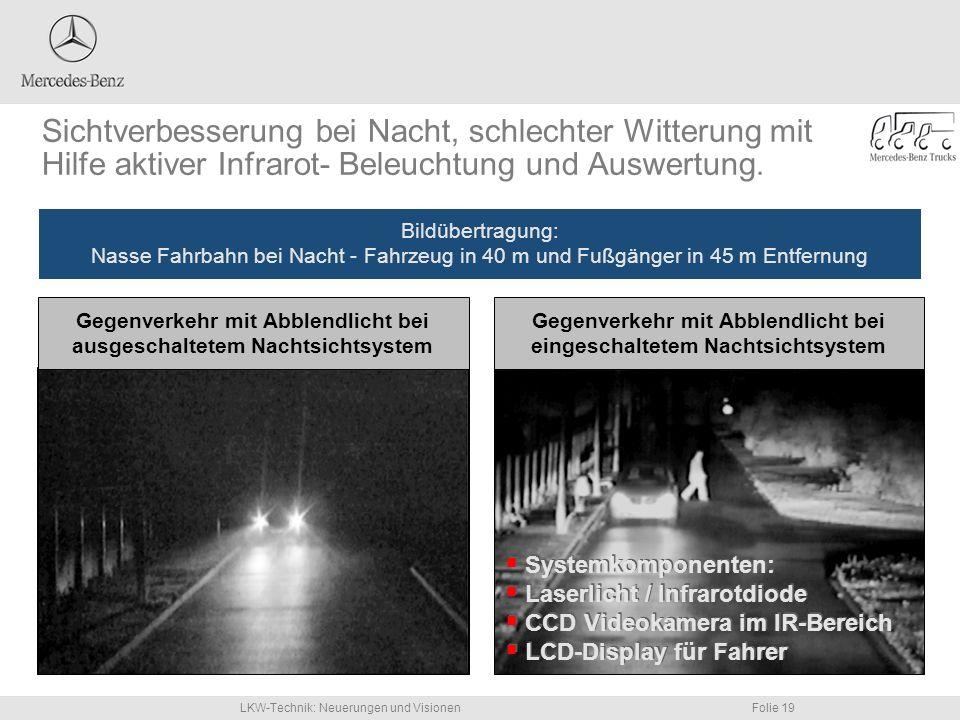 Sichtverbesserung bei Nacht, schlechter Witterung mit Hilfe aktiver Infrarot- Beleuchtung und Auswertung.