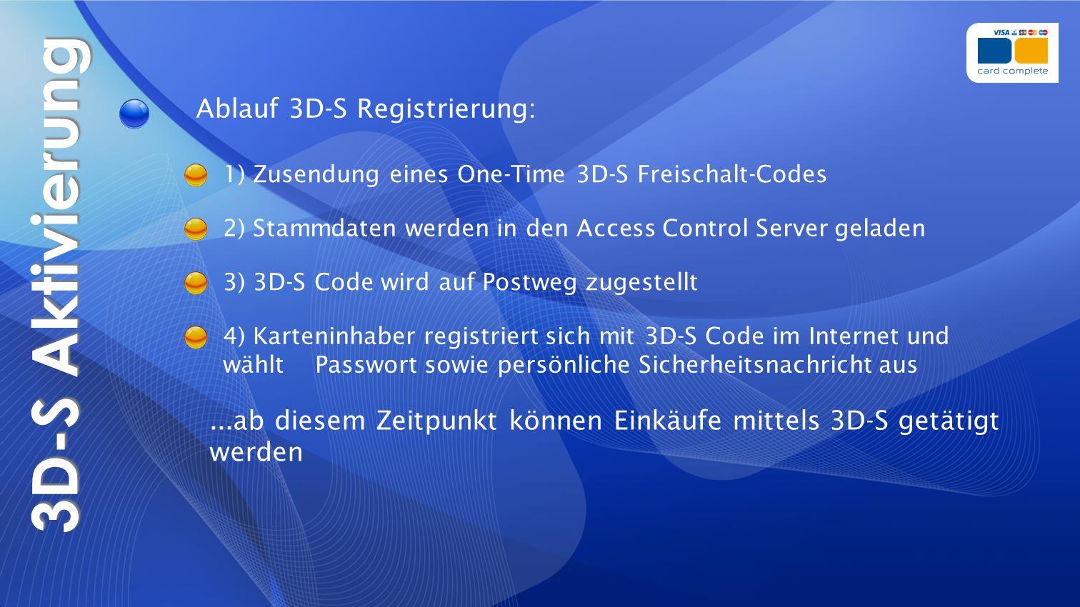 3D-S Aktivierung Ablauf 3D-S Registrierung:
