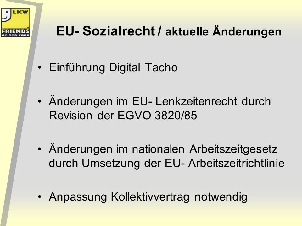 EU- Sozialrecht / aktuelle Änderungen