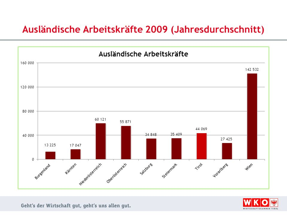 Ausländische Arbeitskräfte 2009 (Jahresdurchschnitt)