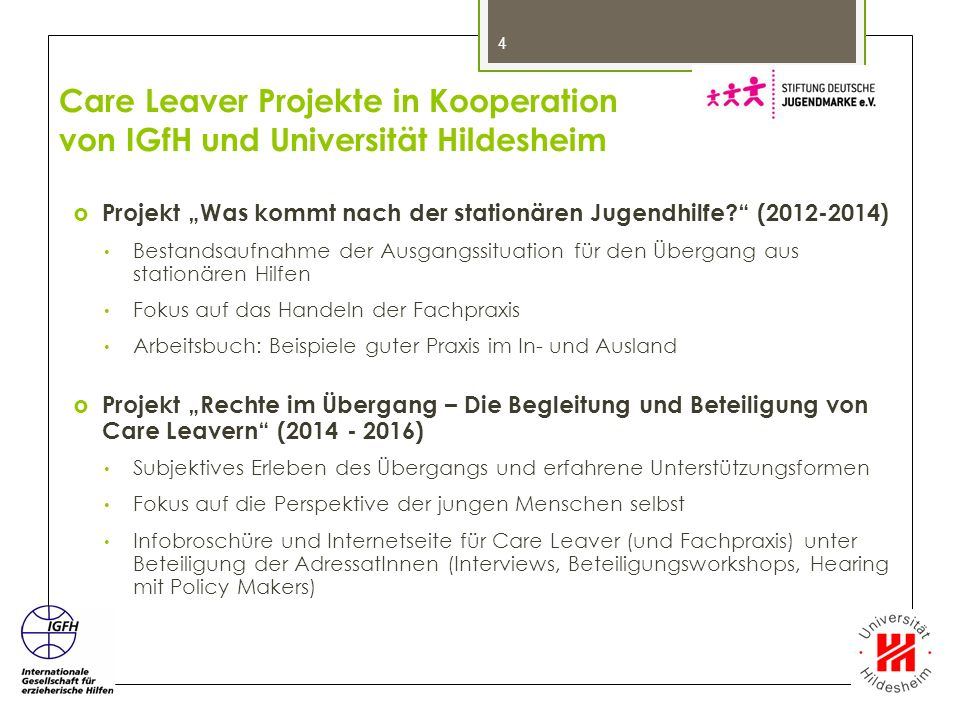 Care Leaver Projekte in Kooperation von IGfH und Universität Hildesheim