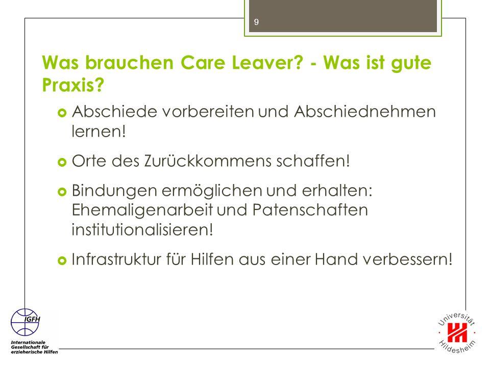 Was brauchen Care Leaver - Was ist gute Praxis
