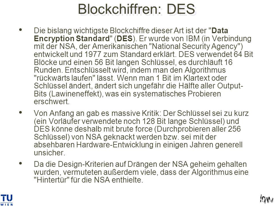 Blockchiffren: DES