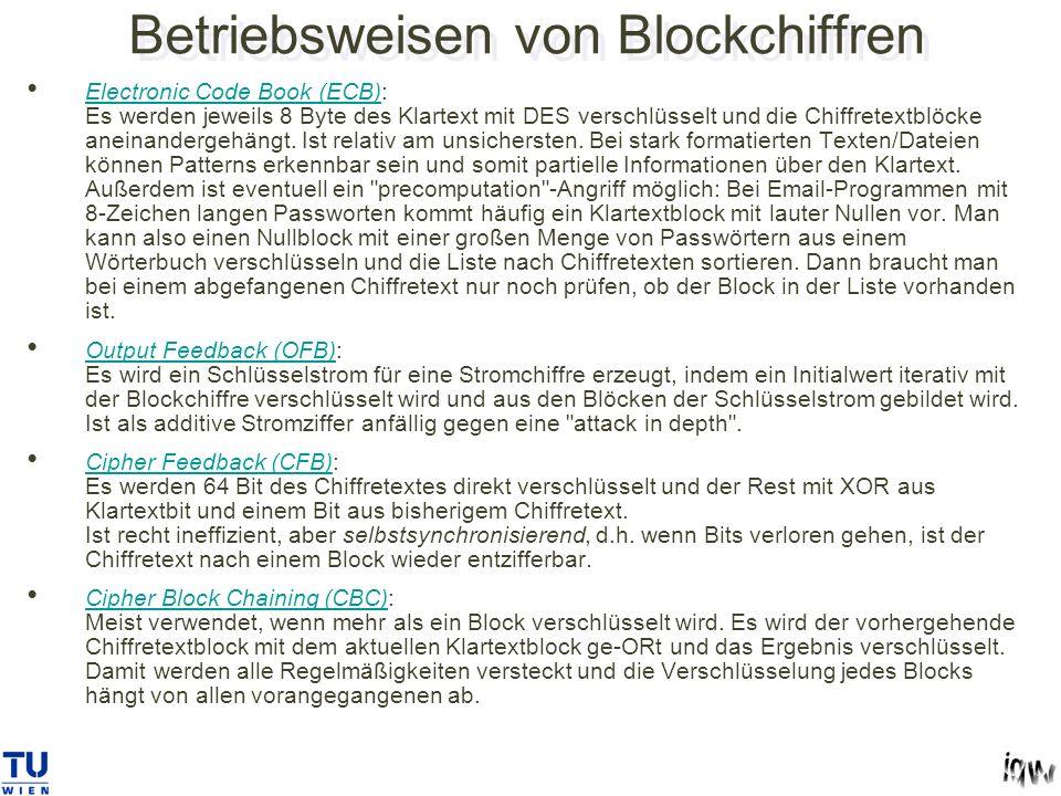 Betriebsweisen von Blockchiffren