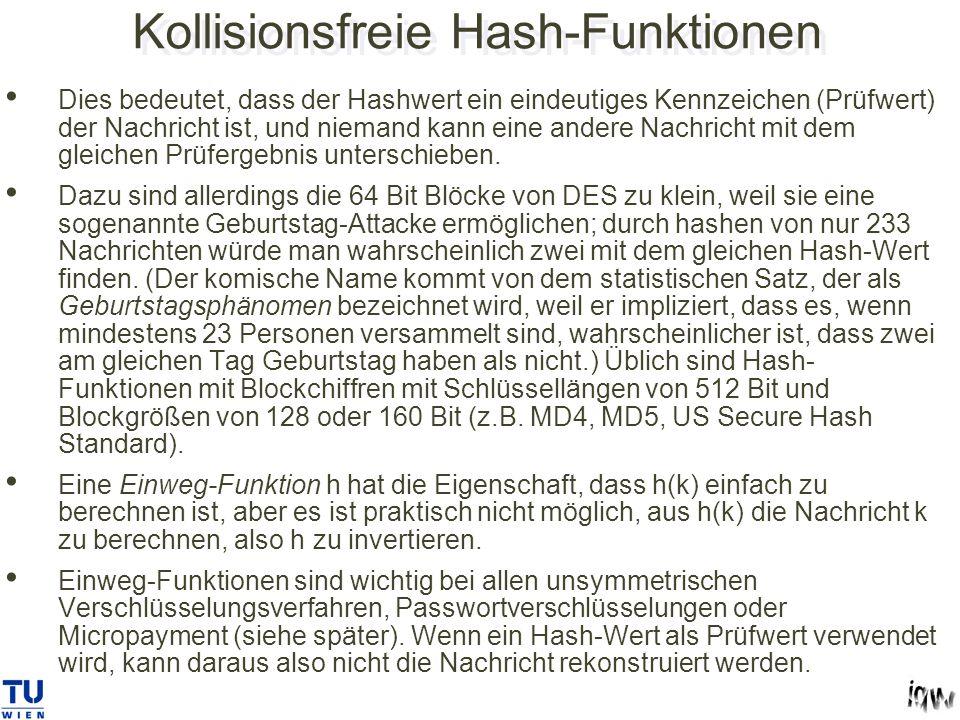 Kollisionsfreie Hash-Funktionen