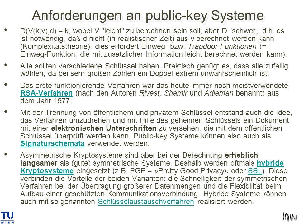 Anforderungen an public-key Systeme