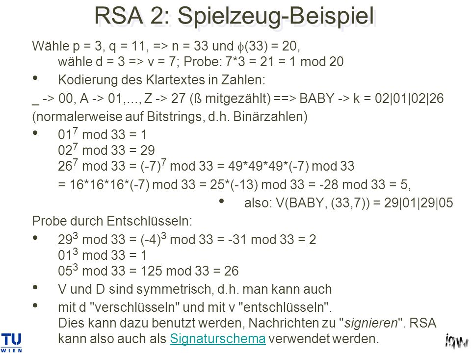 RSA 2: Spielzeug-Beispiel