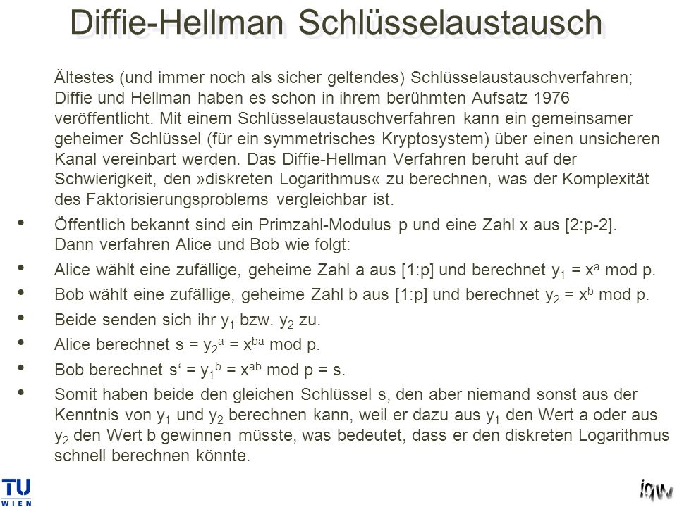 Diffie-Hellman Schlüsselaustausch